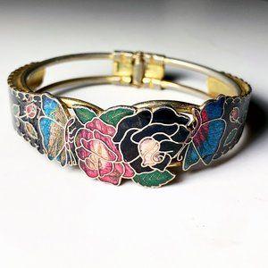 Vintage Cloisonne Floral Butterfly Hinged Bracelet